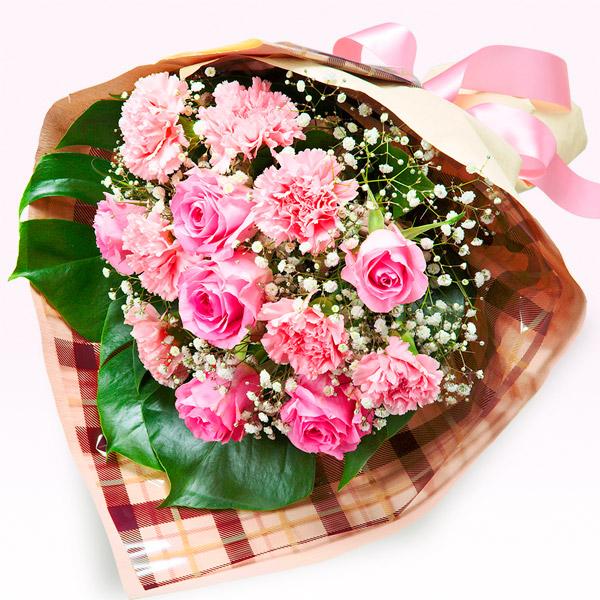 【花束】ピンクバラの花キューピット花束(チェック)