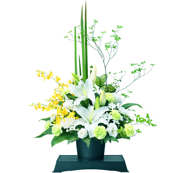 【お供え・お悔やみの献花】お供えのアレンジメント(供花台(中)付き)