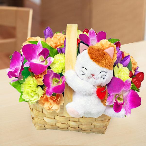 【9月の誕生花(デンファレ等)】秋のラブリー三毛猫バスケット
