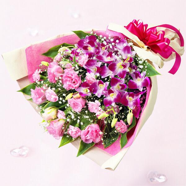 【誕生日フラワーギフト】デンファレとトルコキキョウの花束