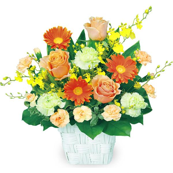 【誕生日フラワーギフト】オレンジバラのスクエアバスケット