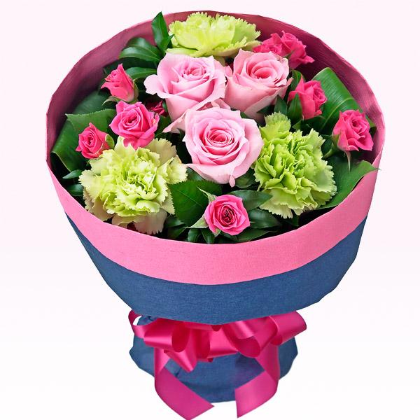 【誕生日フラワーギフト】ピンクバラの花キューピットブーケ