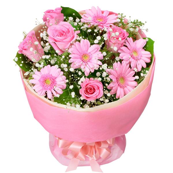 【3月の誕生花(ピンクガーベラ等)】バラとガーベラのピンクブーケ