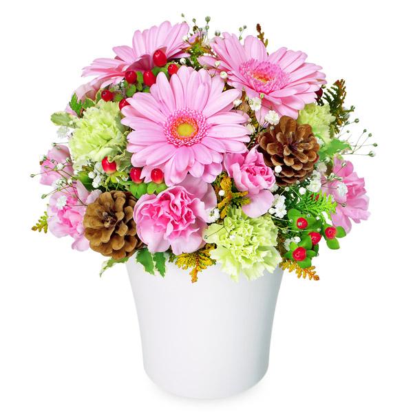 【冬の花贈り特集】ピンクガーベラのウィンターアレンジメント 511902 |花キューピットの2019冬の花贈り特集特集