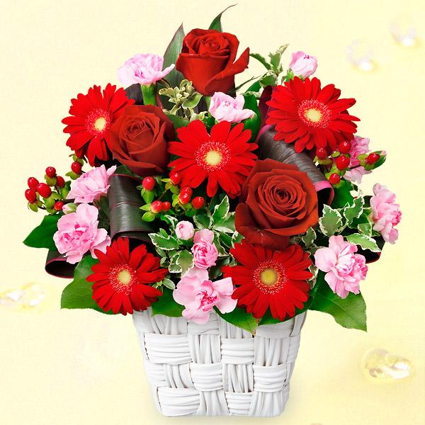 【11月の誕生花(ガーベラ等)】赤バラと赤ガーベラのスクエアバスケット