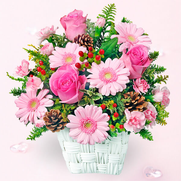 【冬の花贈り特集】ピンクバラとピンクガーベラのバスケット 511917 |花キューピットの2019冬の花贈り特集特集