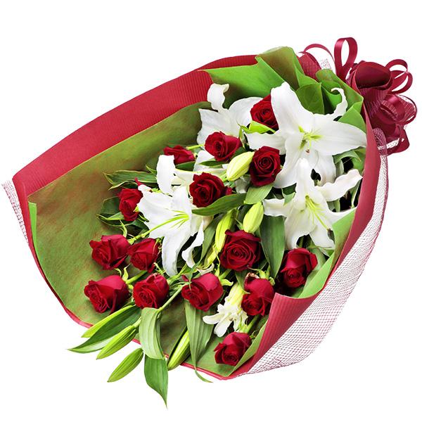 【12月の誕生花(赤バラ等)】ユリと赤バラの花束