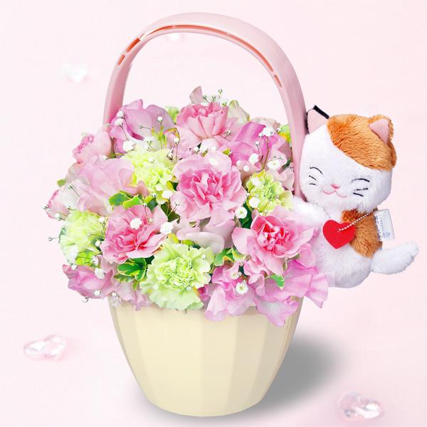 【1月の誕生花(スイートピー等)】三毛猫のマスコット付きアレンジメント
