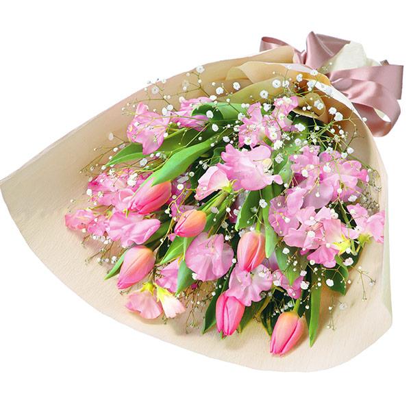【春の退職祝い・送別会】チューリップとスイートピーの花束(ピンク) 511934 |花キューピットの春の退職祝い・送別会