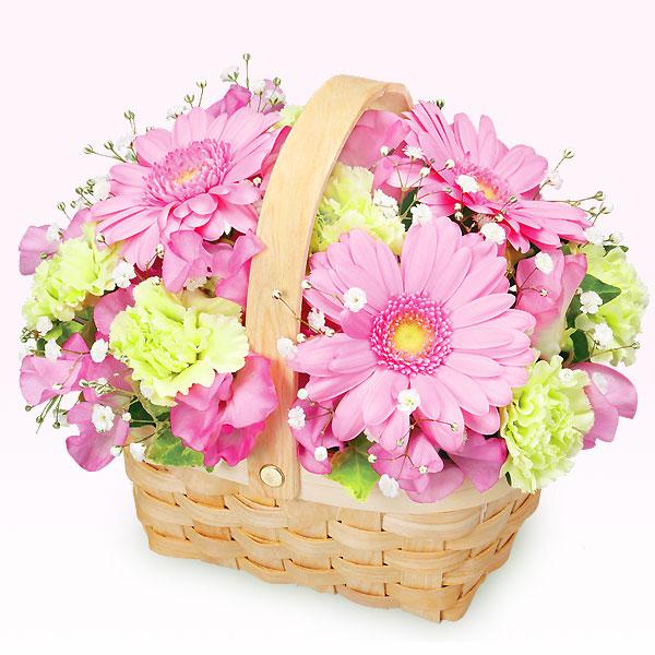 【3月の誕生花(ピンクガーベラ等)】春のバスケットアレンジメント