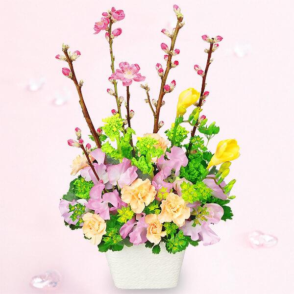 【ひな祭り】桃の花とスイートピーのアレンジメント