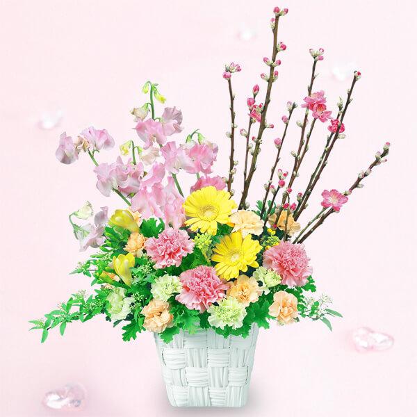 【ひな祭り】桃のガーデンアレンジメント 511959 |花キューピットの2020ひな祭り特集