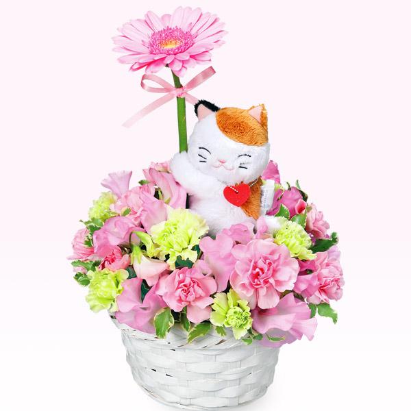【3月の誕生花(ピンクガーベラ等)】三毛猫のガーベラアレンジメント(ピンク)