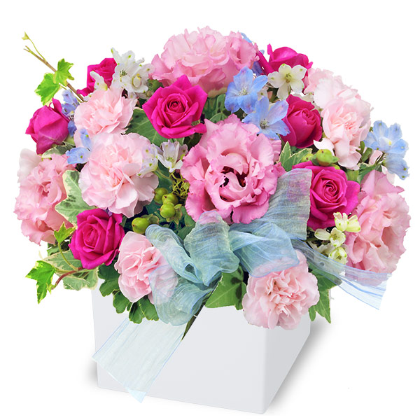 【アレンジメント(法人)】バラとトルコキキョウのキューブアレンジメント