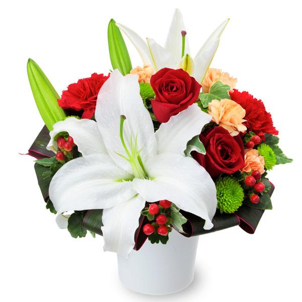 【誕生日フラワーギフト・ユリ】ユリと赤バラのエレガントアレンジメント