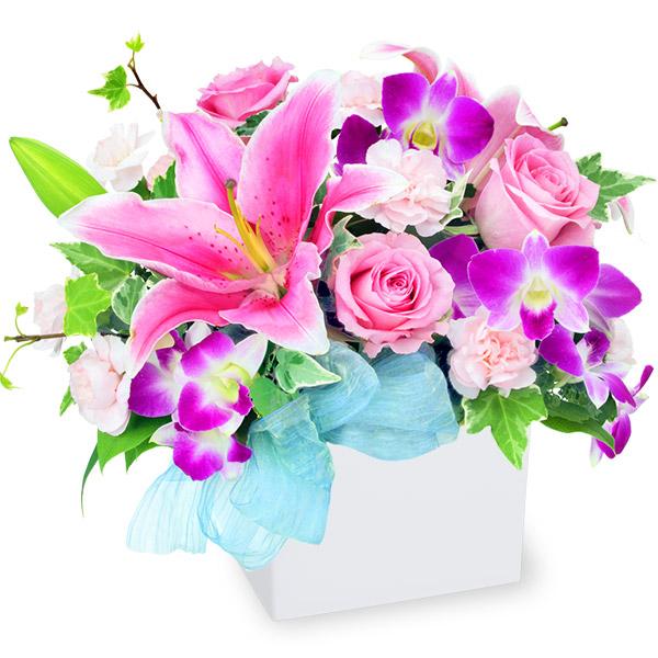 【お祝い】ピンクユリのキューブアレンジメント