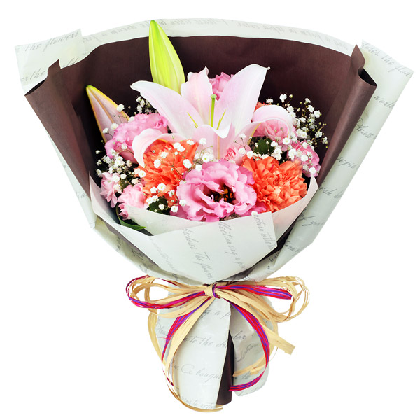 【秋の花贈り】ピンクユリのナチュラルブーケ 511970 |花キューピットの2019秋のお祝いプレゼント特集