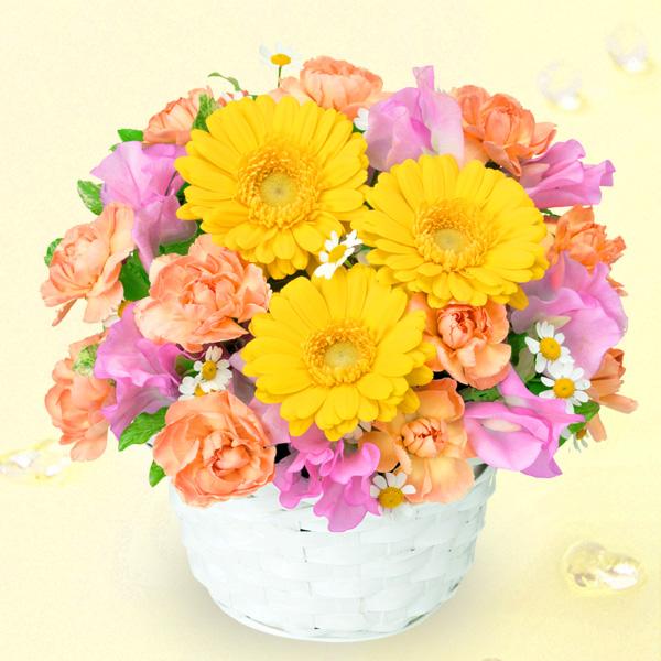 【1月の誕生花(スイートピー等)】ガーベラとスイートピーのアレンジメント
