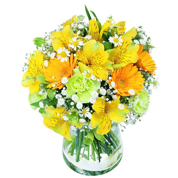 【4月の誕生花(アルストロメリア等)】イエローアルストロメリアのグラスブーケ