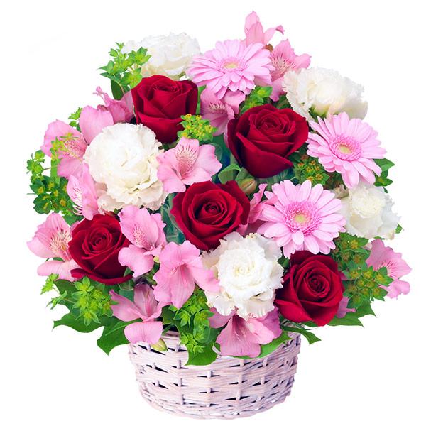 【4月の誕生花(アルストロメリア等)】赤バラとアルストロメリアのアレンジメント