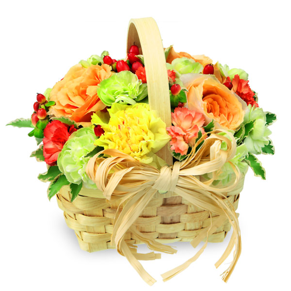 【秋のバラ特集】ビタミンカラーのウッドバスケット 512026 |花キューピットの2019秋のバラ特集