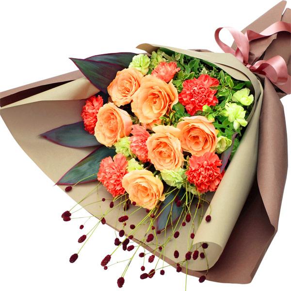【秋のバラ特集】オレンジバラのエレガントな花束 512031 |花キューピットの2019秋のバラ特集