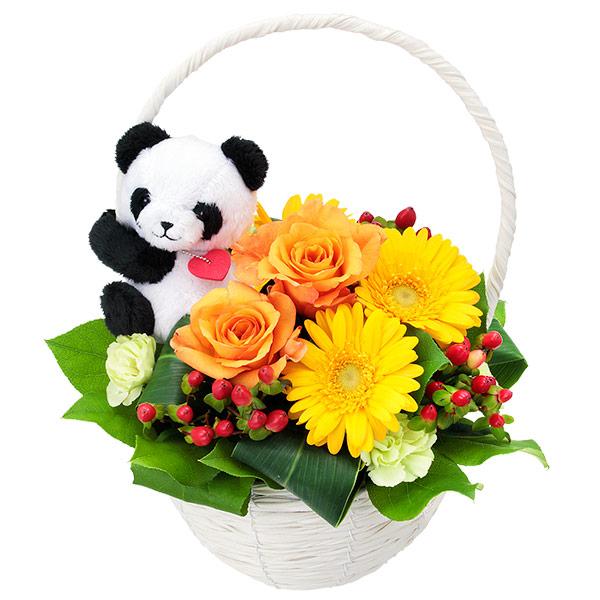 【誕生日フラワーギフト】オレンジバラのマスコット付きバスケット(パンダ)
