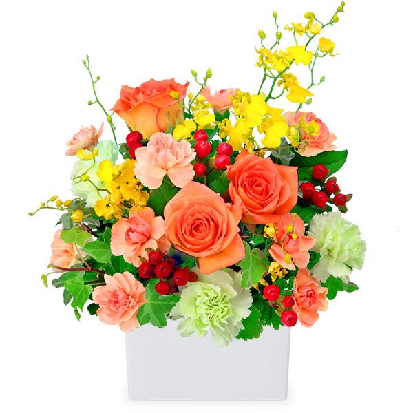 【秋のバラ特集】オレンジバラの華やかアレンジメント 512053 |花キューピットの2019秋のバラ特集
