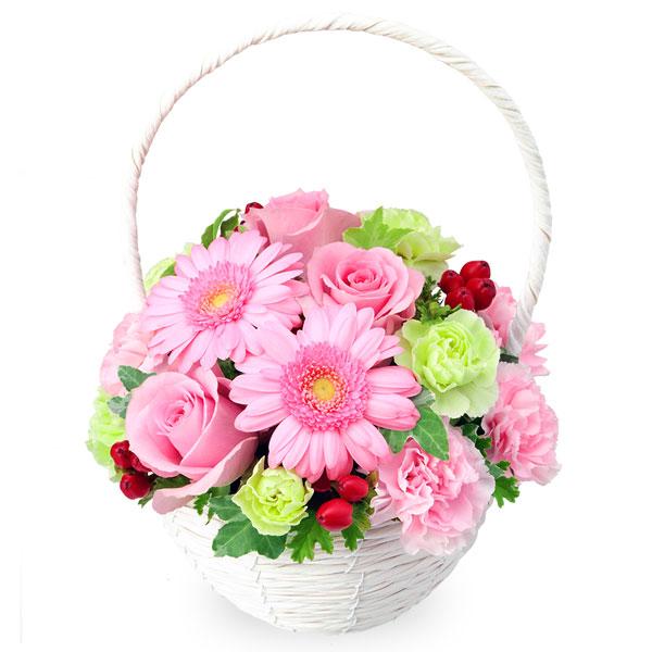 【アレンジメント(法人)】ピンクバラとガーベラのナチュラルバスケット