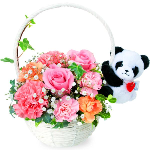【ご出産祝い(法人)】ピンクバラのマスコット付きバスケット(パンダ)