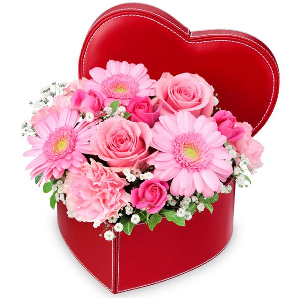 【結婚祝】ピンクバラとガーベラのハートボックスアレンジメント