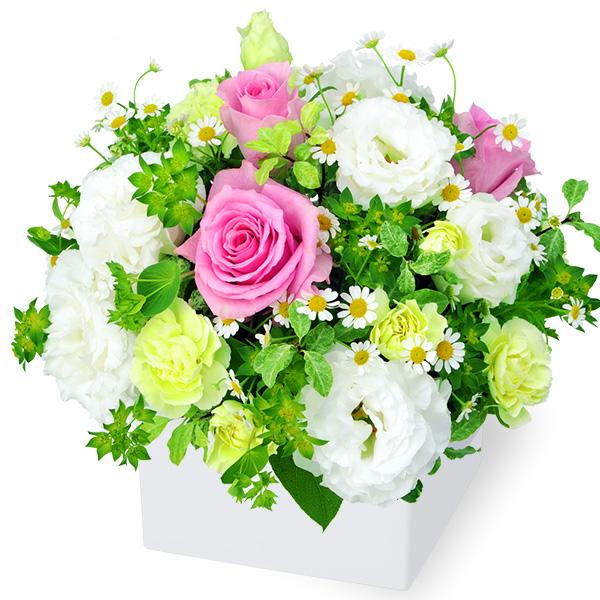 【5月の誕生花(ピンクバラ等)】ピンク&ホワイトのキューブアレンジメント