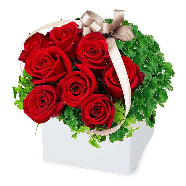 【秋のバラ特集】赤バラのキューブアレンジメント 512061 |花キューピットの2019秋のバラ特集