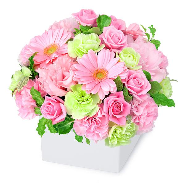 【結婚記念日】ピンクガーベラのキューブアレンジメント