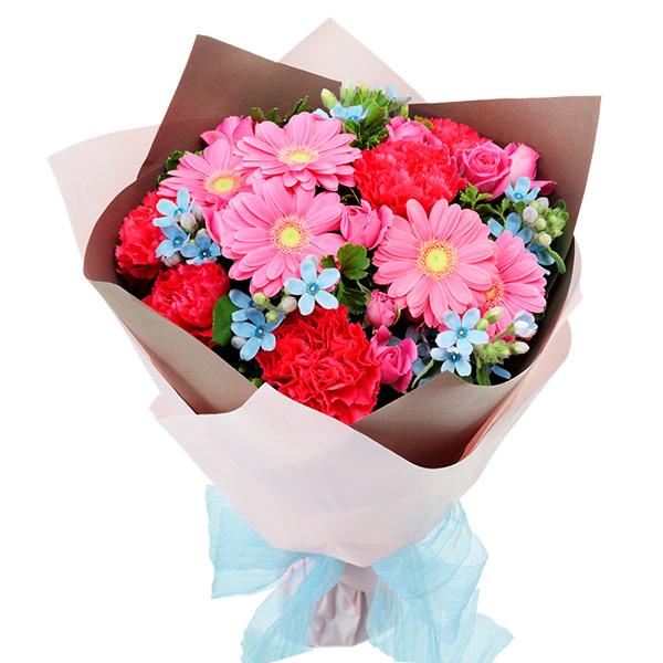 【誕生日フラワーギフト】ピンクとブルーの鮮やかブーケ