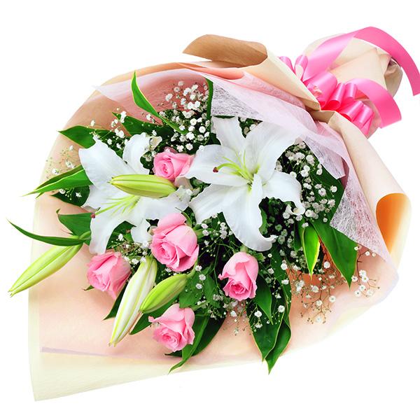 【秋の発表会・展覧会】ユリとピンクバラの花束 512064 |花キューピットの2019秋のお祝いプレゼント特集