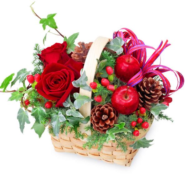 【クリスマスフラワー】クリスマスのウッドバスケット