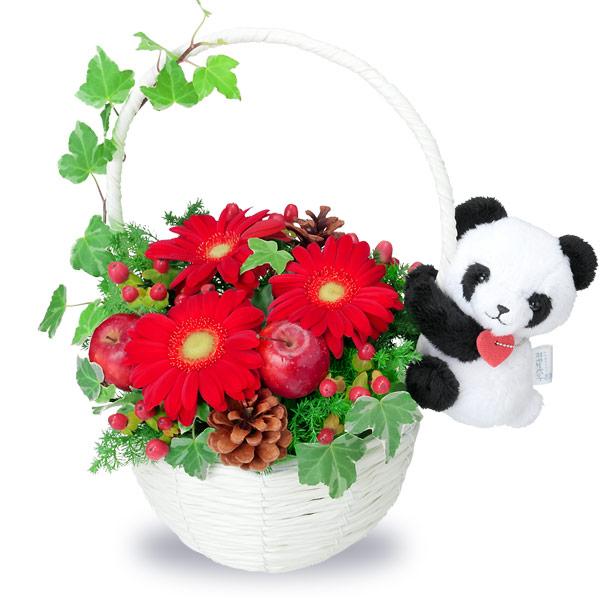 【クリスマスフラワー ランキング】クリスマスのマスコット付きバスケット(パンダ)