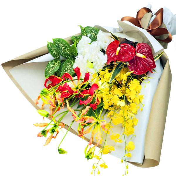 【夏の花贈り特集】夏の華やかな花束 512071 |花キューピットの夏の花贈り特集2020