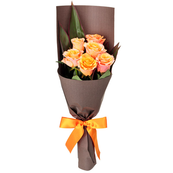 【結婚記念日】オレンジバラ6本の花束