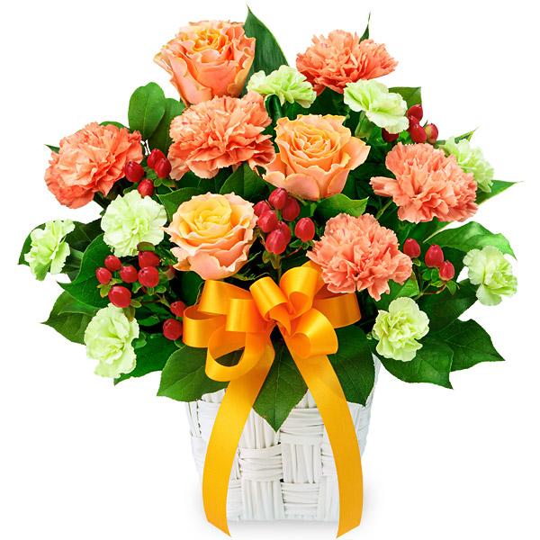 【10月の誕生花(オレンジバラ等)】バラとオレンジリボンのアレンジメント