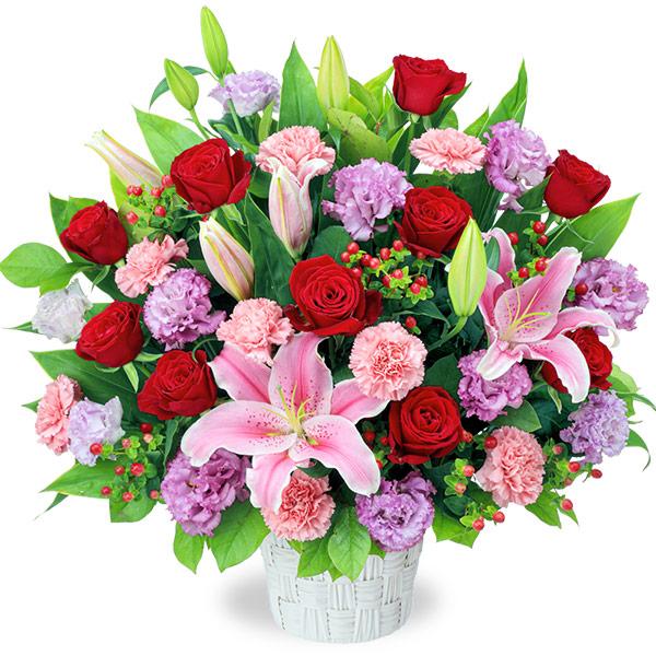 【お祝い(法人)】ピンクとレッドの華やかアレンジメント