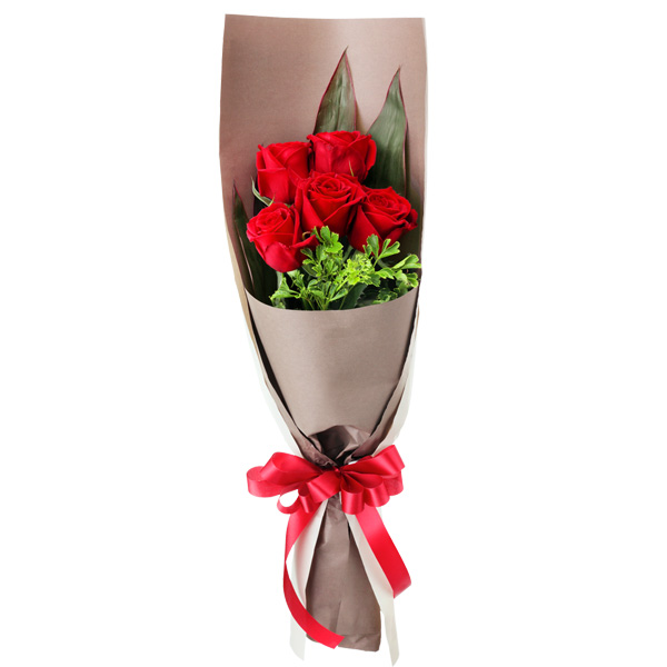 【花束】赤バラ5本の花束