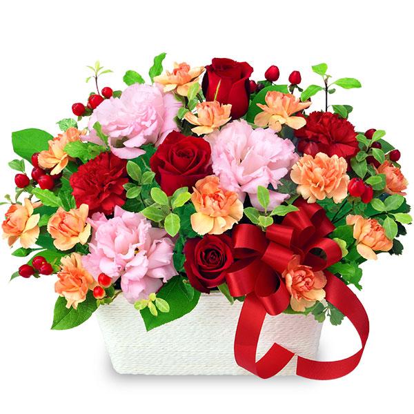 【結婚記念日】赤バラとリボンのアレンジメント