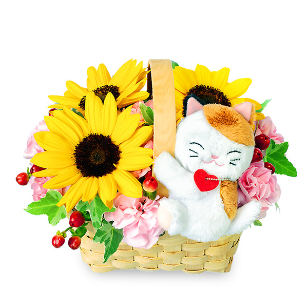 【7月の誕生花(ひまわり等)】ひまわりのマスコット付きウッドバスケット(三毛猫)