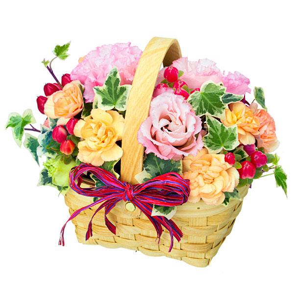 【結婚記念日】トルコキキョウのウッドバスケット