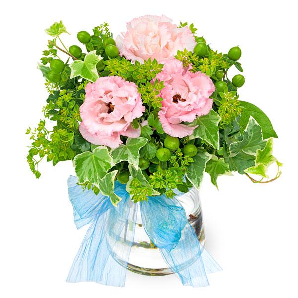 【誕生日フラワーギフト】トルコキキョウとグリーンのグラスブーケ