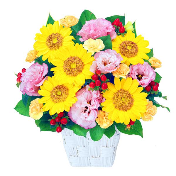 【8月の誕生花(トルコキキョウ等)】ひまわりとトルコキキョウのアレンジメント