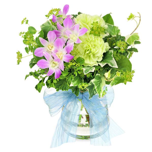 【夏の花贈り特集】デンファレとグリーンのグラスブーケ 512105 |花キューピットの夏の花贈り特集2020