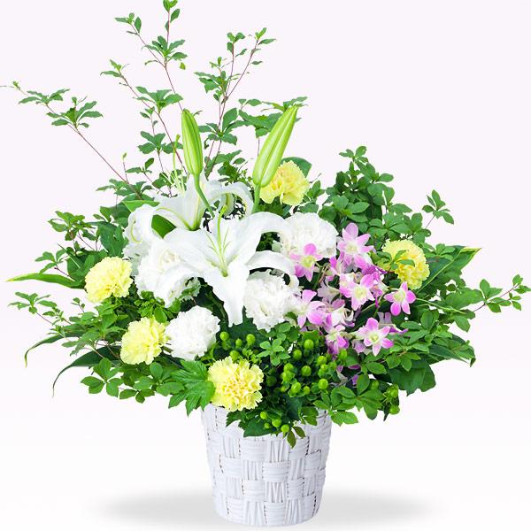 【9月の誕生花(デンファレ等)】白ユリとデンファレのアレンジメント